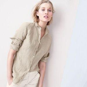 J. Crew Tall Perfect Shirt Cotton-linen Crosshatch